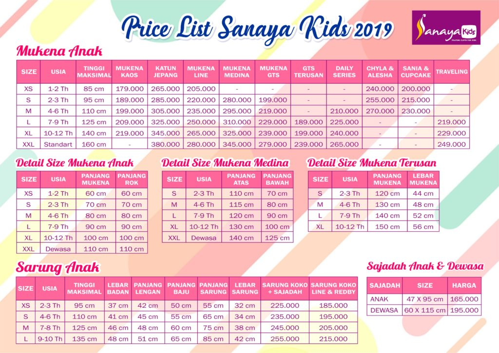 price list sanaya kids revisi